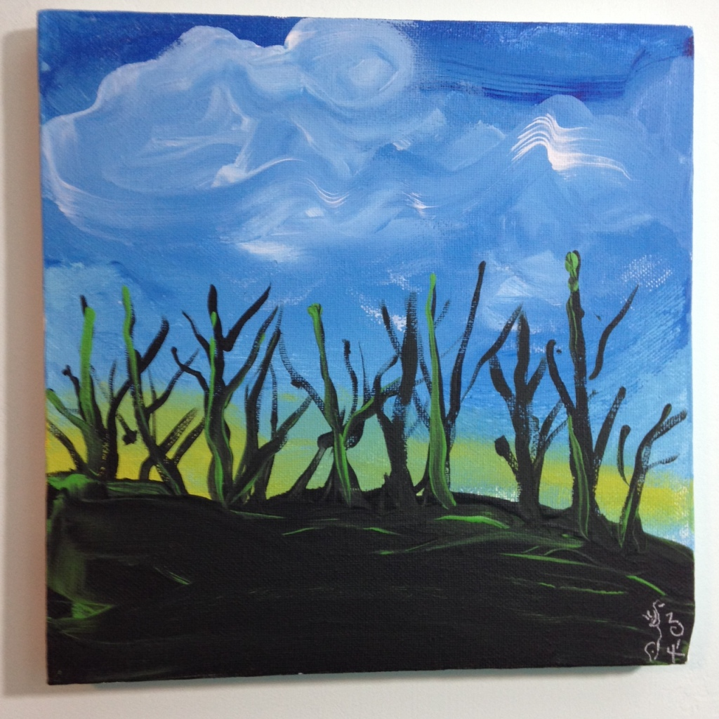 Trees During Sunset- Tribute to the Mouth and Foot Painting Artists Linda Cleary 2014 Acrylic on Canvas