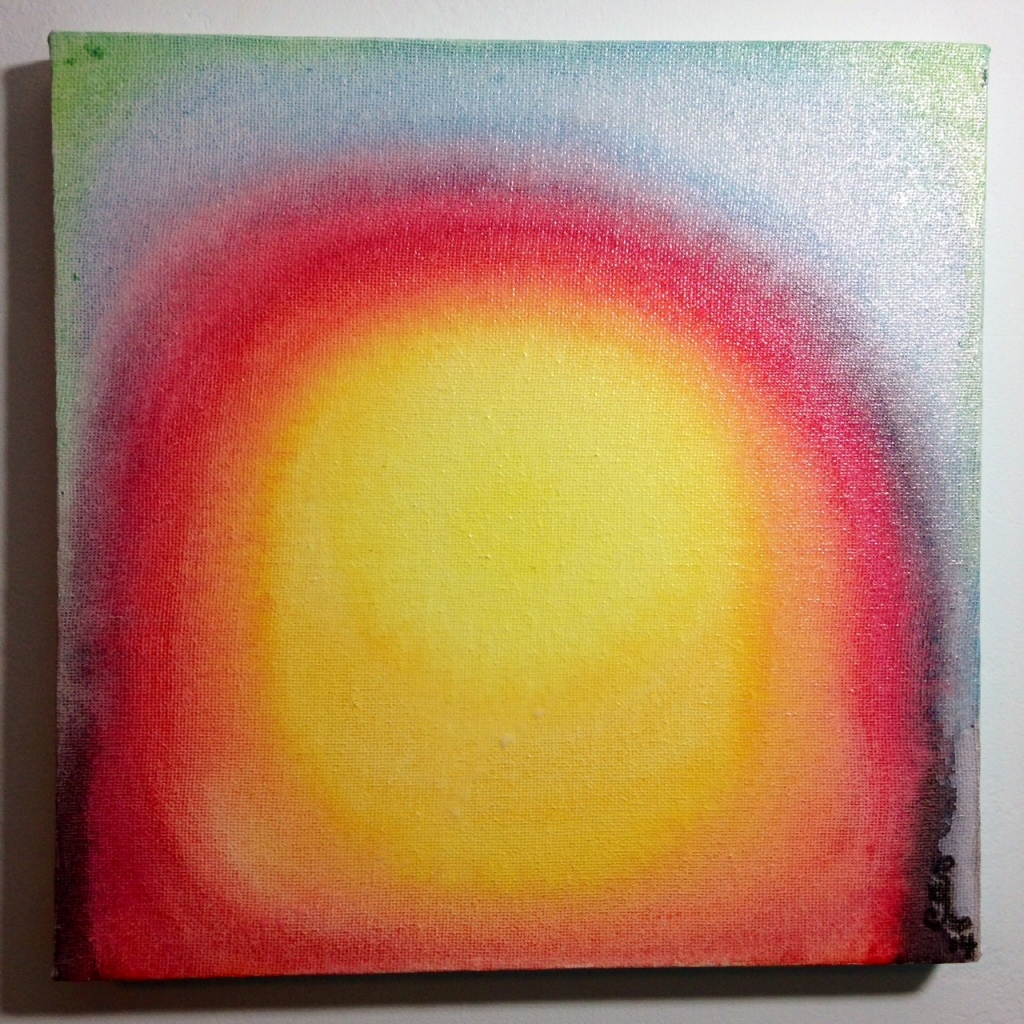Sunspot- Tribute to Leon Berkowitz Linda Cleary 2014 Watercolor and Enamel on Canvas