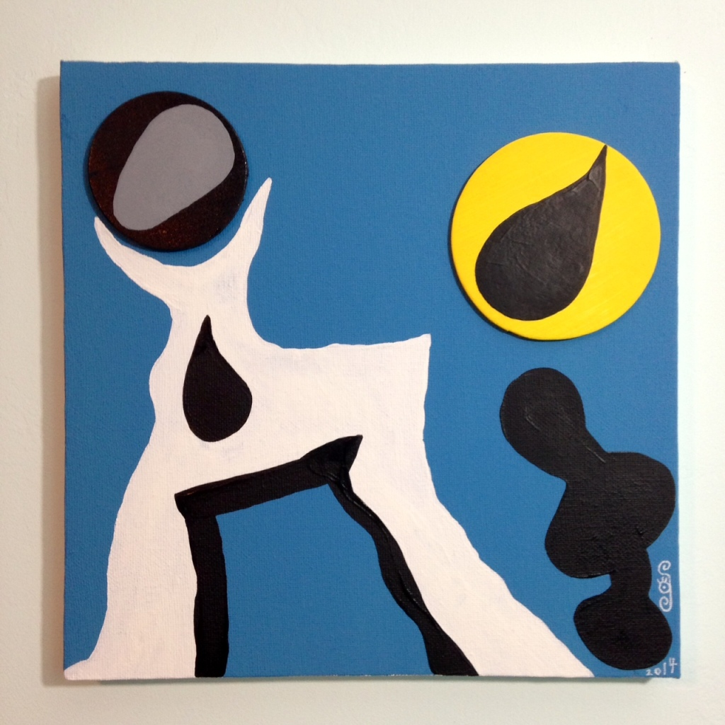 Nuit Sonne- Tribute to Jean (Hans) Arp Linda Cleary 2014 Wood Cutouts & Acrylic on Canvas