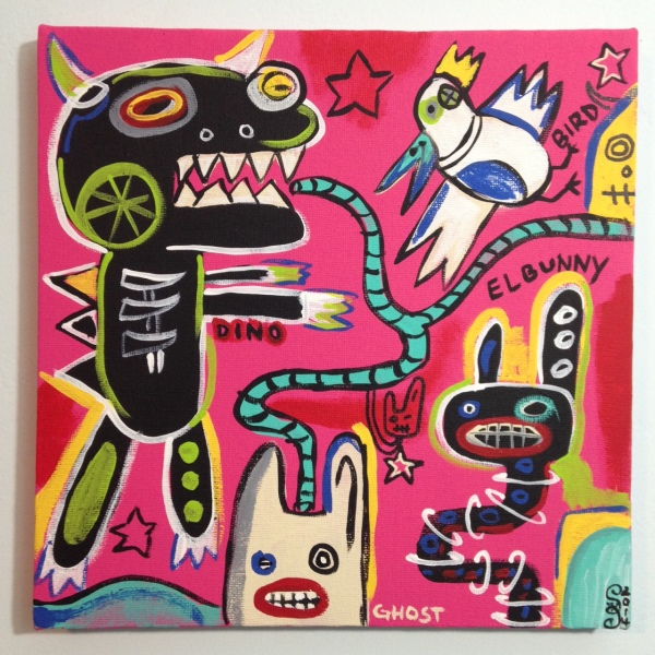 Crazy Town- Tribute to Matt Sesow Linda Cleary 2014 Acrylic on Canvas