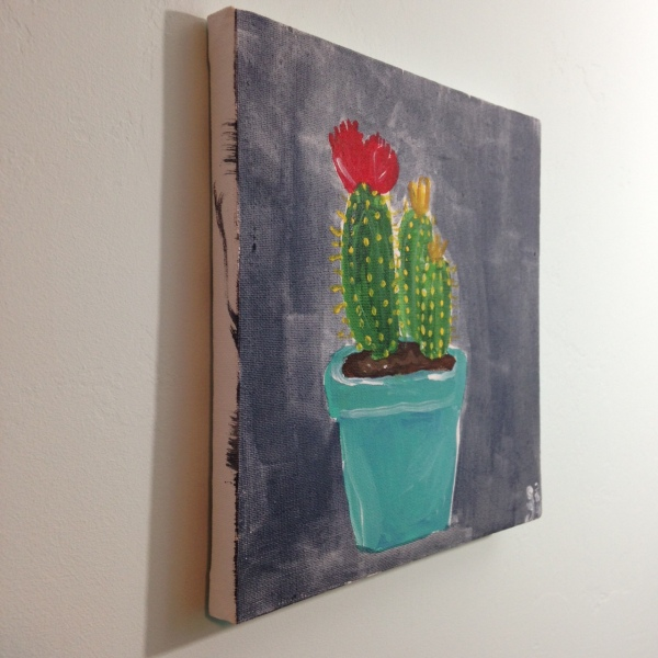 Side-View Little Cacti- Tribute to the Mouth Painters of the Mouth and Foot Painting Artists of the USA Linda Cleary 2014 Acrylic on Canvas