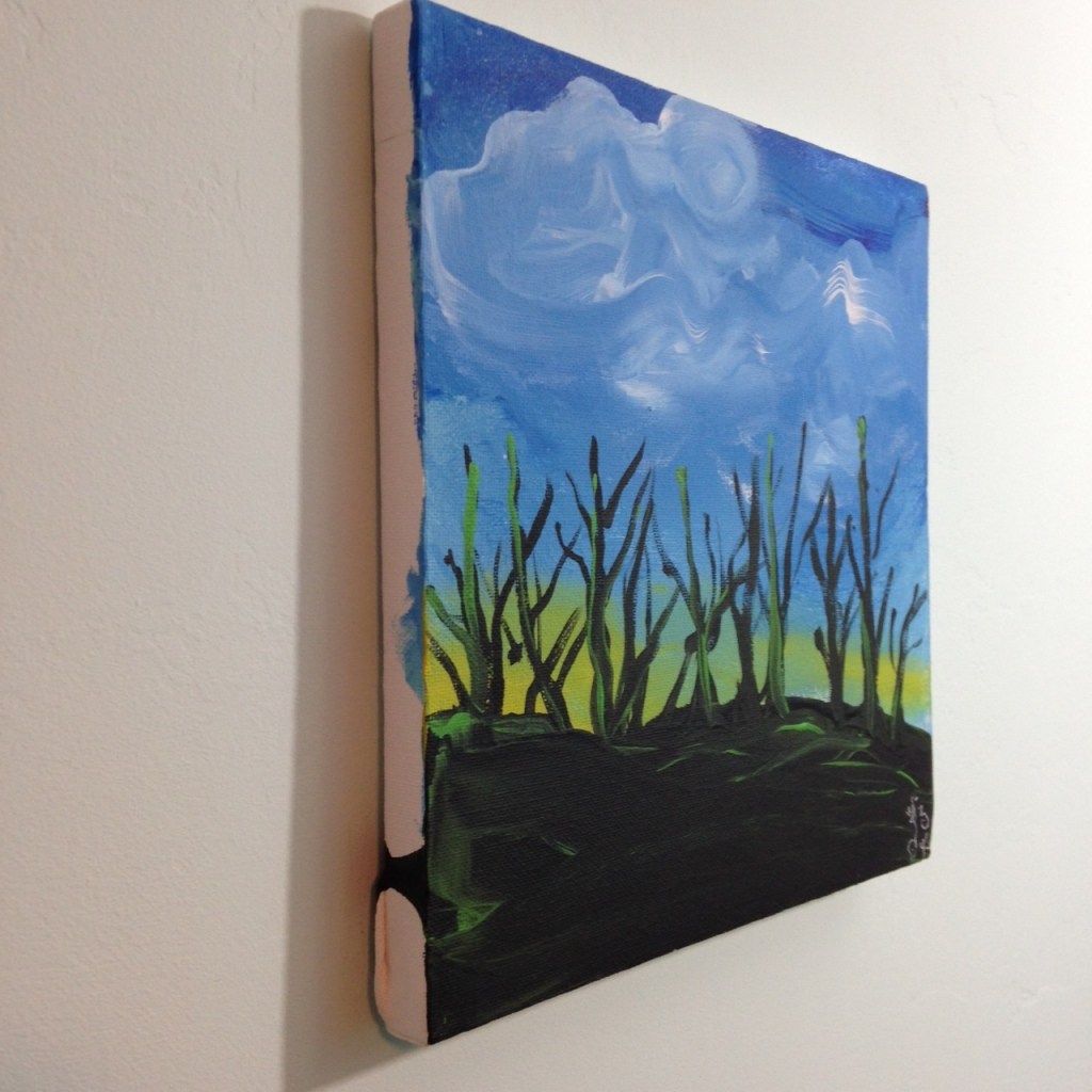 Side-View Trees During Sunset- Tribute to the Mouth and Foot Painting Artists Linda Cleary 2014 Acrylic on Canvas