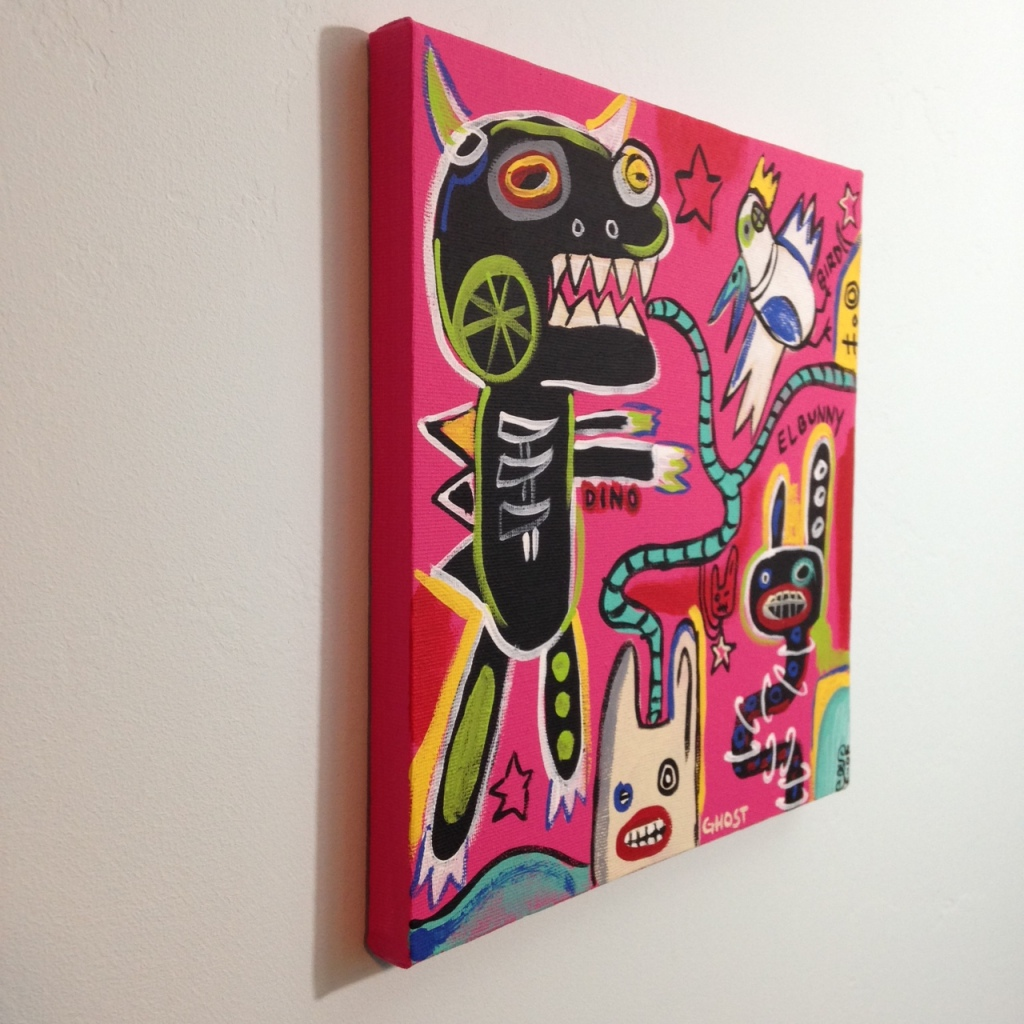 Side-View Crazy Town- Tribute to Matt Sesow Linda Cleary 2014 Acrylic on Canvas