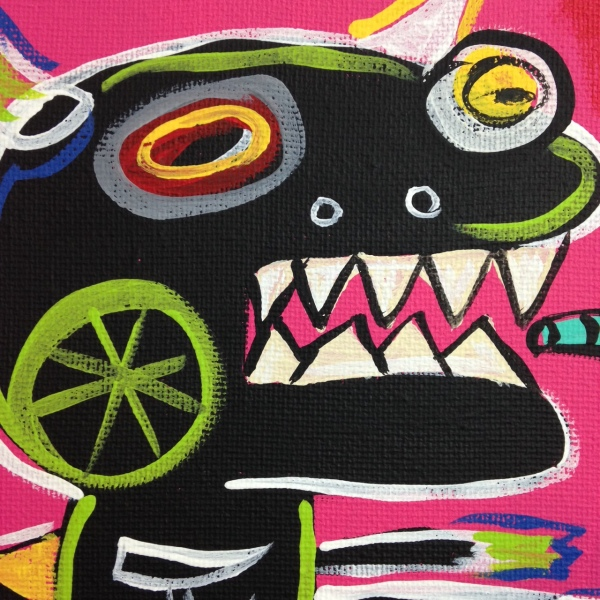 Close-Up 1 Crazy Town- Tribute to Matt Sesow Linda Cleary 2014 Acrylic on Canvas
