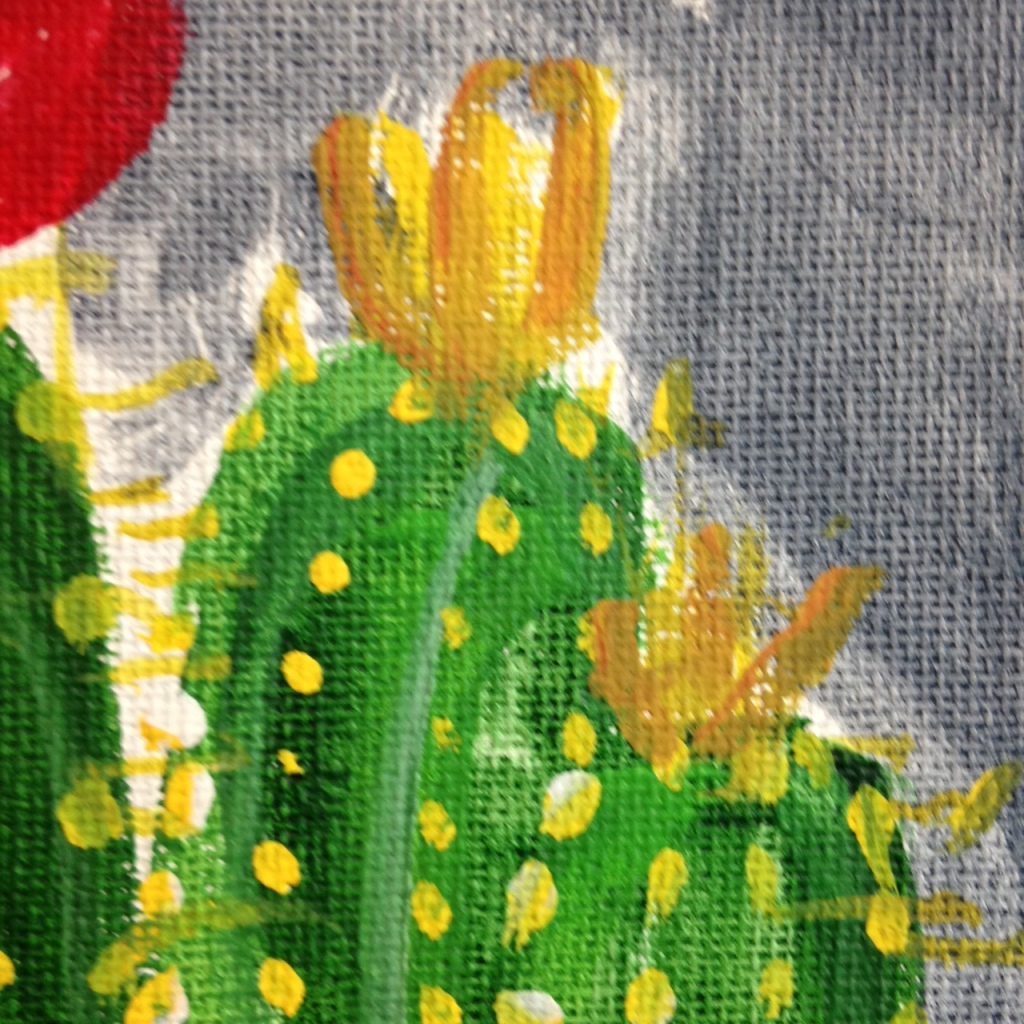 Close-Up 2 Little Cacti- Tribute to the Mouth Painters of the Mouth and Foot Painting Artists of the USA Linda Cleary 2014 Acrylic on Canvas