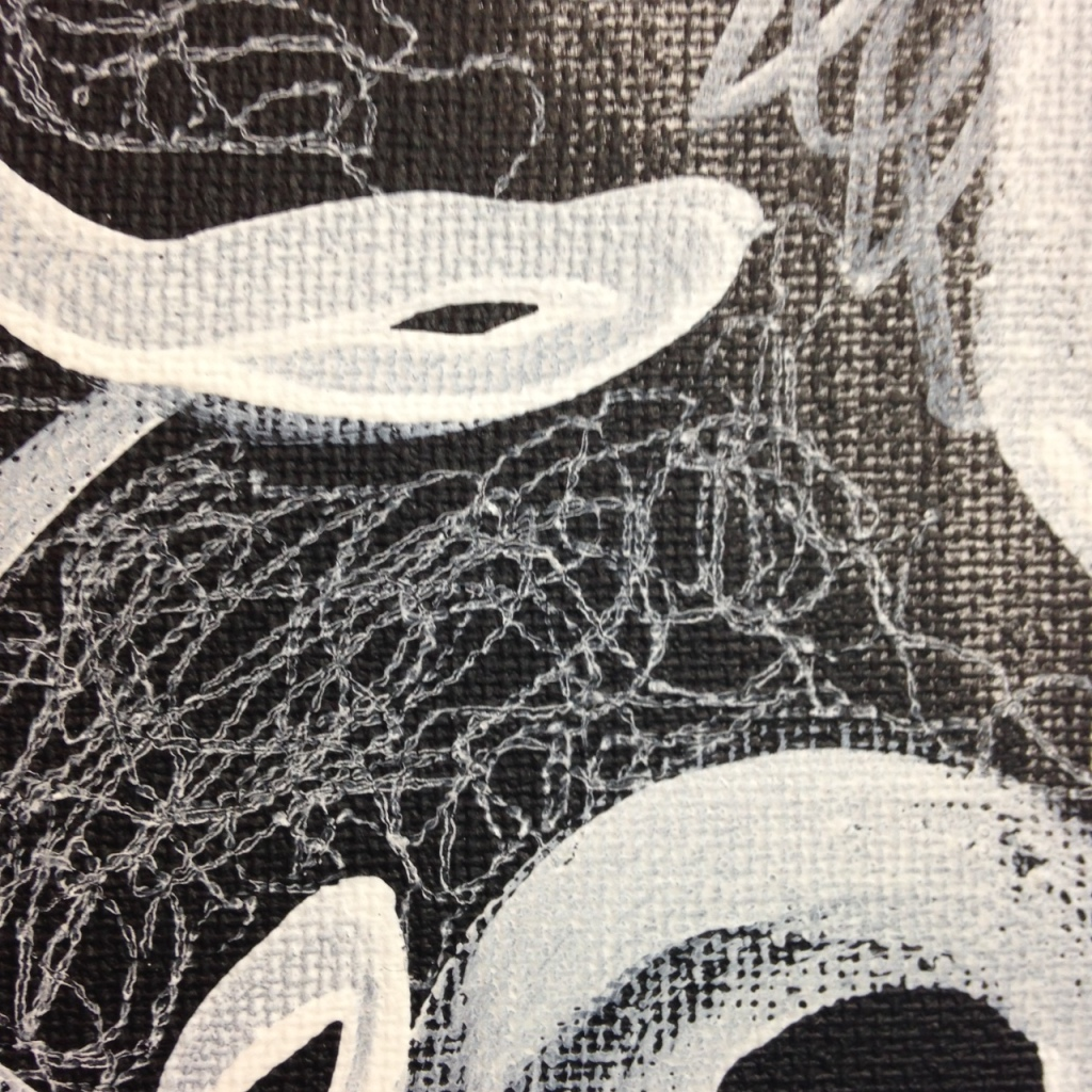 Close-Up 2 Untitled 201- Tribute to Otto Zitko Linda Cleary 2014 Acrylic & Pen on Canvas
