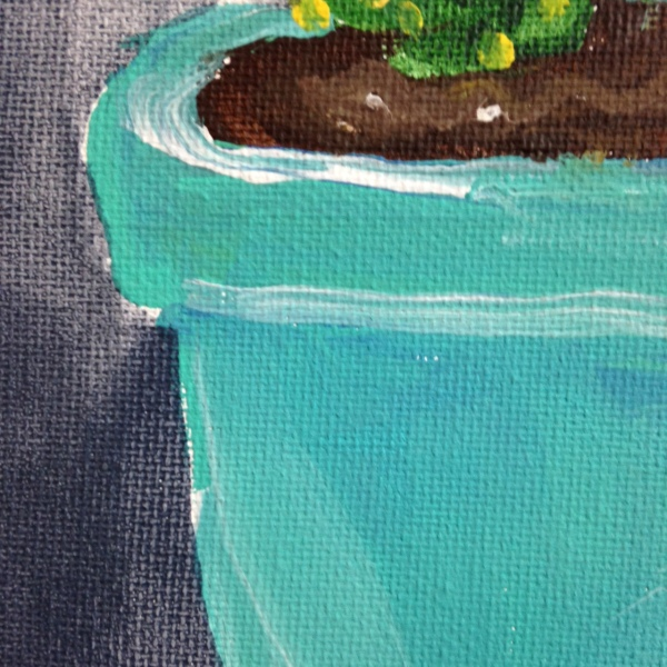Close-Up 3 Little Cacti- Tribute to the Mouth Painters of the Mouth and Foot Painting Artists of the USA Linda Cleary 2014 Acrylic on Canvas
