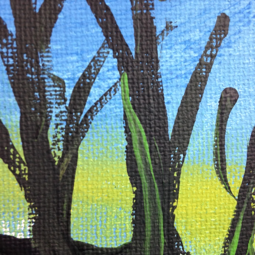 Close-Up 3 Trees During Sunset- Tribute to the Mouth and Foot Painting Artists Linda Cleary 2014 Acrylic on Canvas