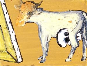 Enzo Cucchi, Occhi-lacrimosi, 2007, oil on canvas, 18 x 24