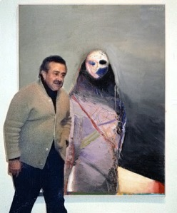 "Nathan Oliveira with his painting- ""Standing Figure"""