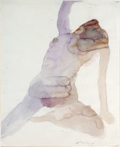 Nathan Oliveira, Figure # 3, watercolor on paper