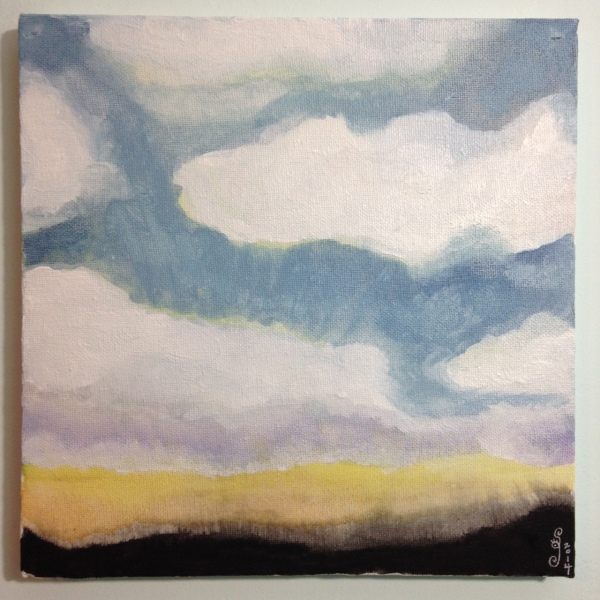 Sunset Sky- Tribute to Jon Schueler Linda Cleary 2014 Watercolor & Acrylic on Canvas