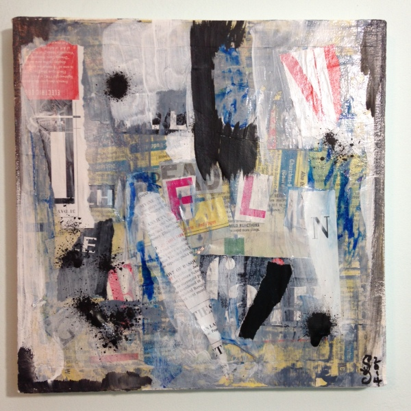 Subliminal- Tribute to Francois Dufrene Linda Cleary 2014 Mixed Media on Canvas
