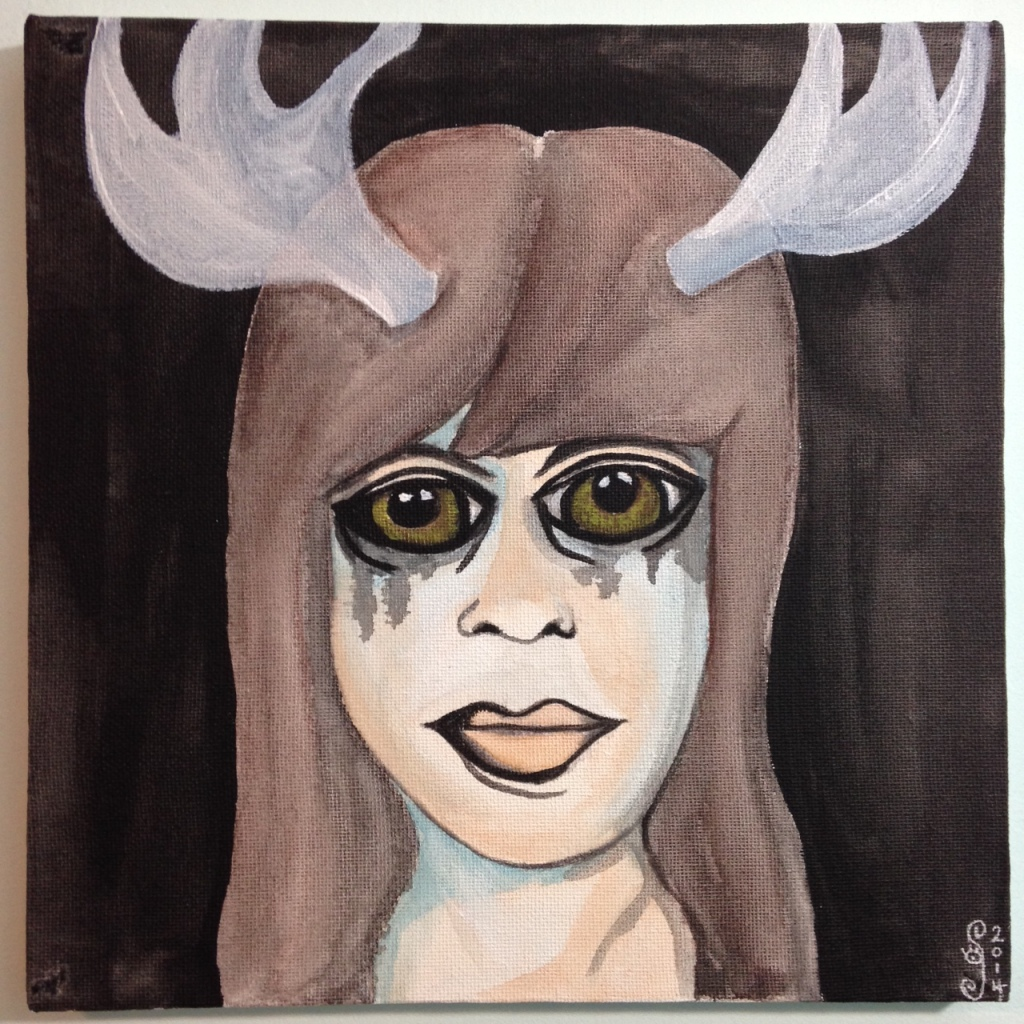 Self-Portrait with Antlers- Tribute to Francesco Clemente Linda Cleary 2014 Acrylic & Watercolor on Canvas