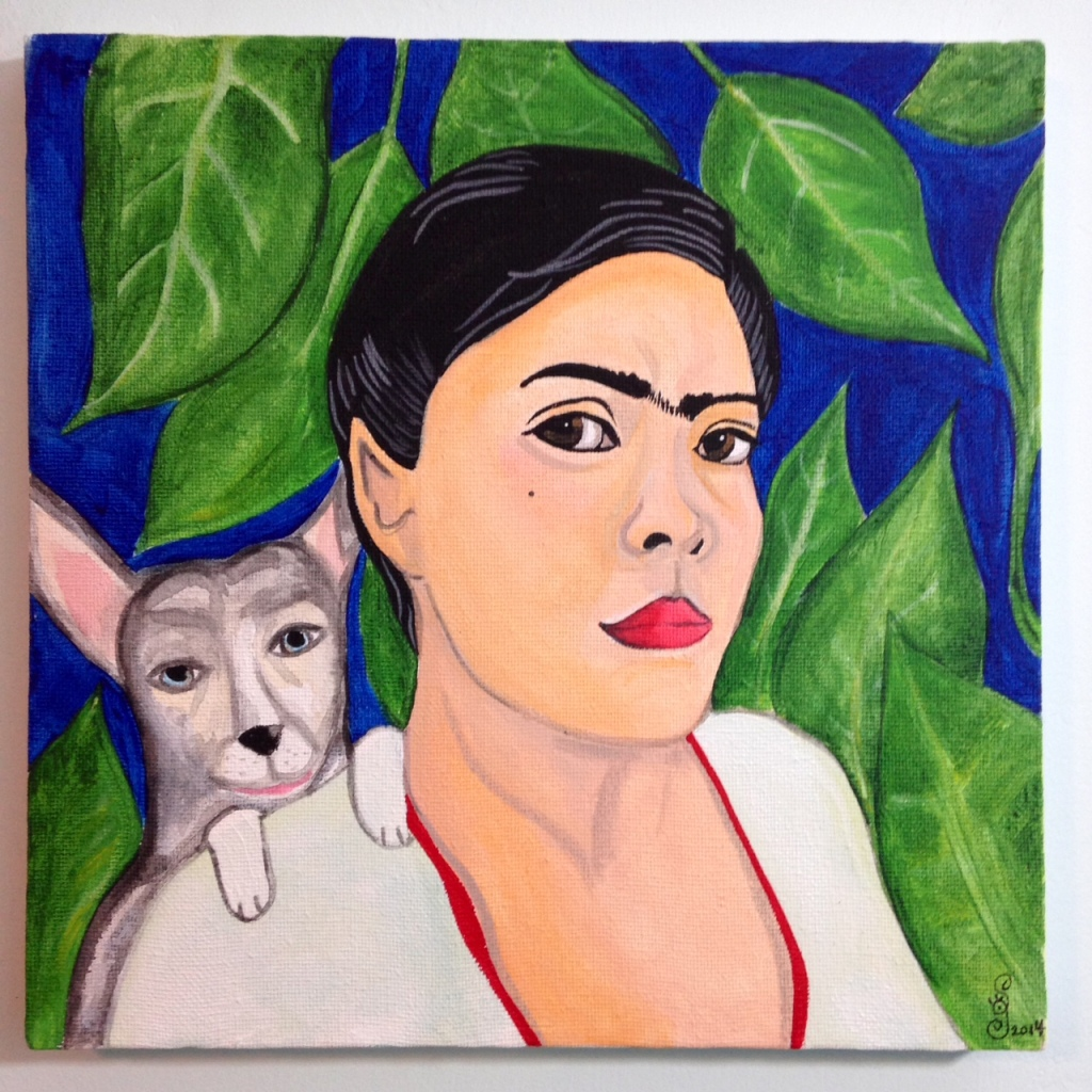 Self Portrait with Lexi- Tribute to Frida Kahlo Linda Cleary 2014 Acrylic/Watercolor on Canvas