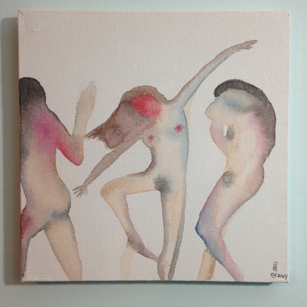 Three Figures Dancing- Tribute to Nathan Oliveira Linda Cleary 2014 Watercolor on Canvas