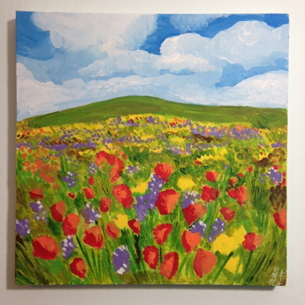 Field of Poppies- Tribute to Claude Monet Linda Cleary 2014 Acrylic on Canvas