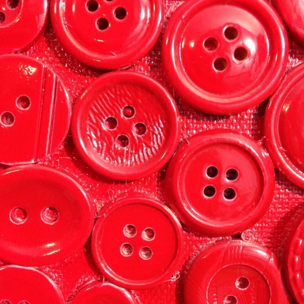 Close-Up 1 Red Buttons- Tribute to Arman Linda Cleary 2014 Mixed Media on Canvas