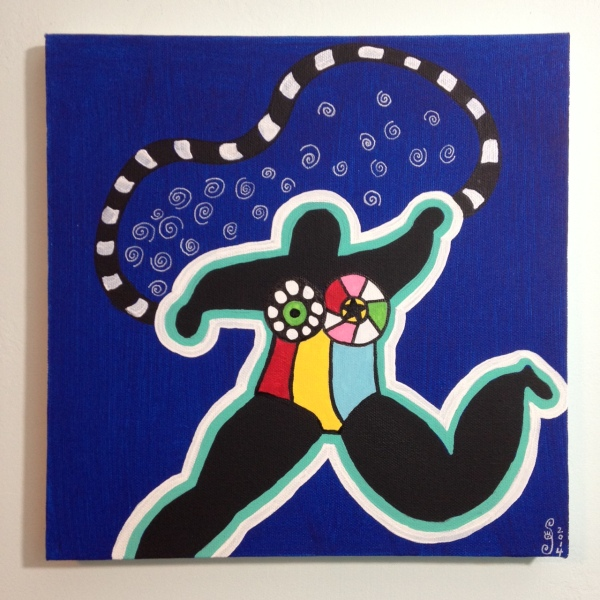 My Nana- Tribute to Niki De Saint Phalle Linda Cleary 2014 Acrylic on Canvas