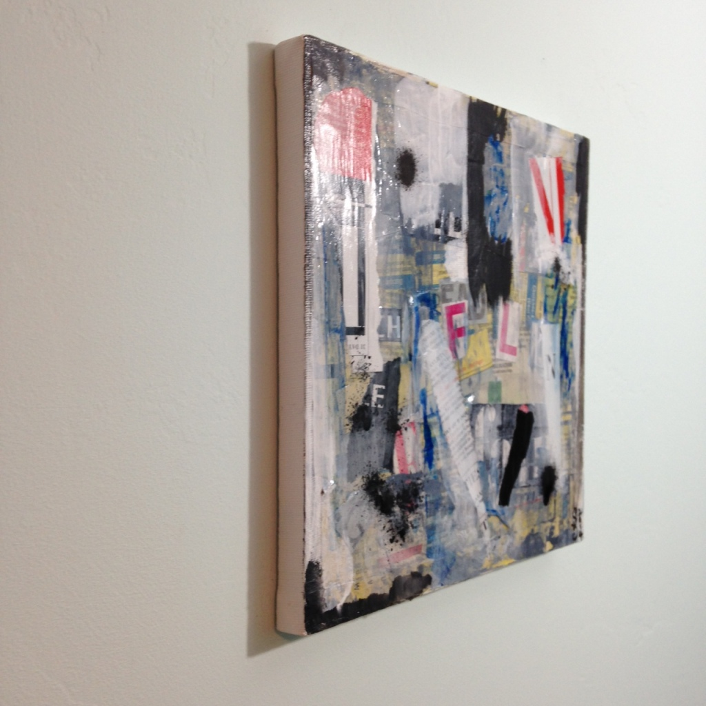 Side-View Subliminal- Tribute to Francois Dufrene Linda Cleary 2014 Mixed Media on Canvas