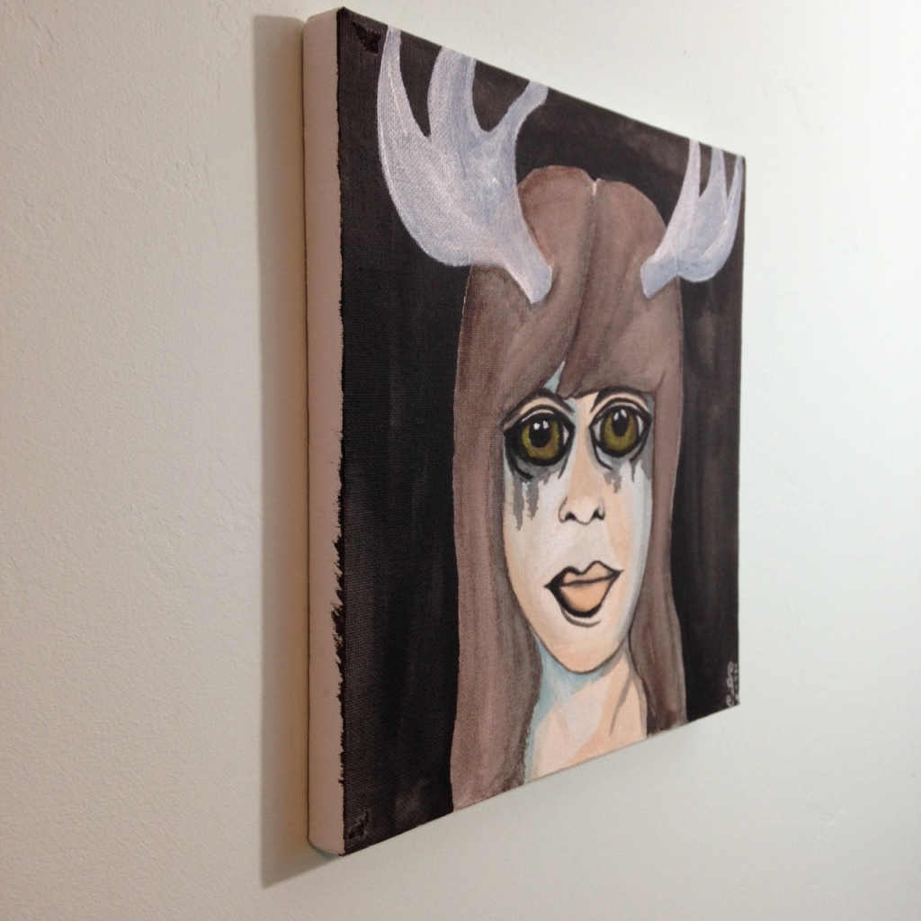 Side-View Self-Portrait with Antlers- Tribute to Francesco Clemente Linda Cleary 2014 Acrylic & Watercolor on Canvas