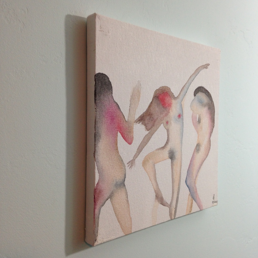 Side-View Three Figures Dancing- Tribute to Nathan Oliveira Linda Cleary 2014 Watercolor on Canvas