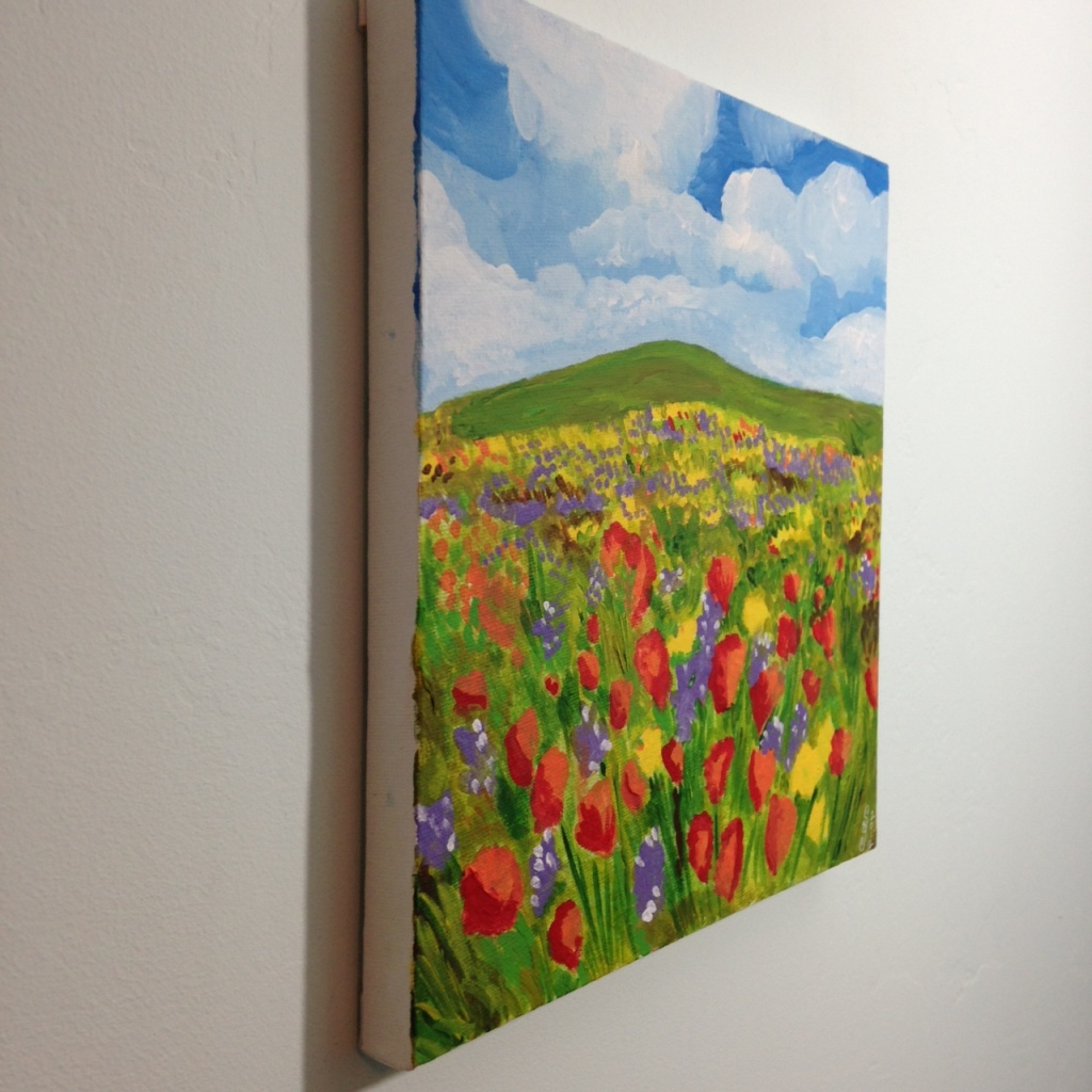 Side-View Field of Poppies- Tribute to Claude Monet Linda Cleary 2014 Acrylic on Canvas