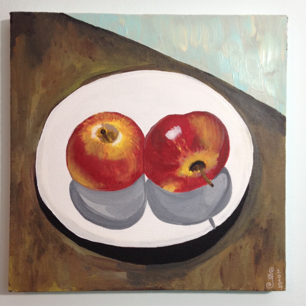 Still Life with Apples- Tribute to Paul Cezanne Linda Cleary 2014 Acrylic on Canvas