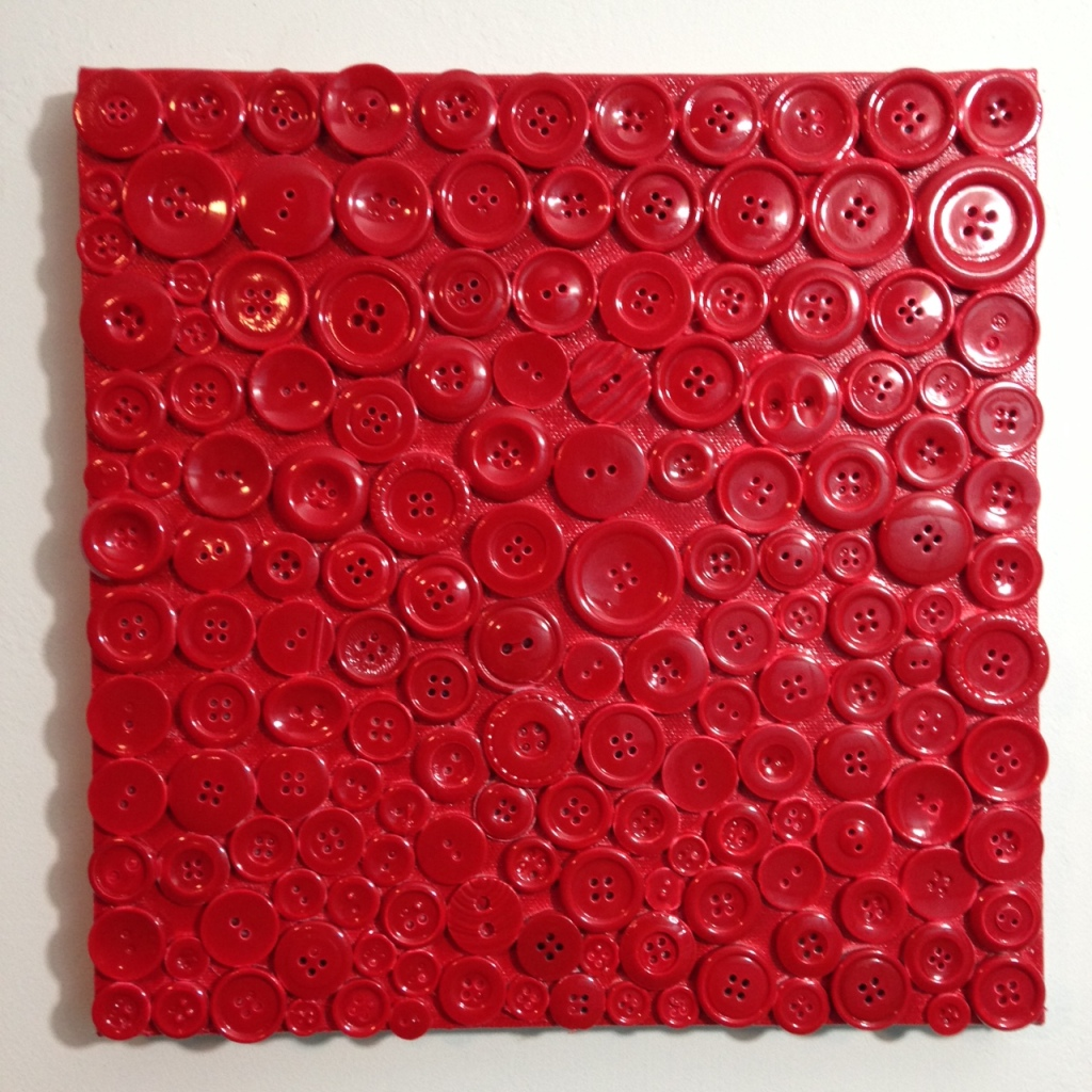 Red Buttons- Tribute to Arman Linda Cleary 2014 Mixed Media on Canvas