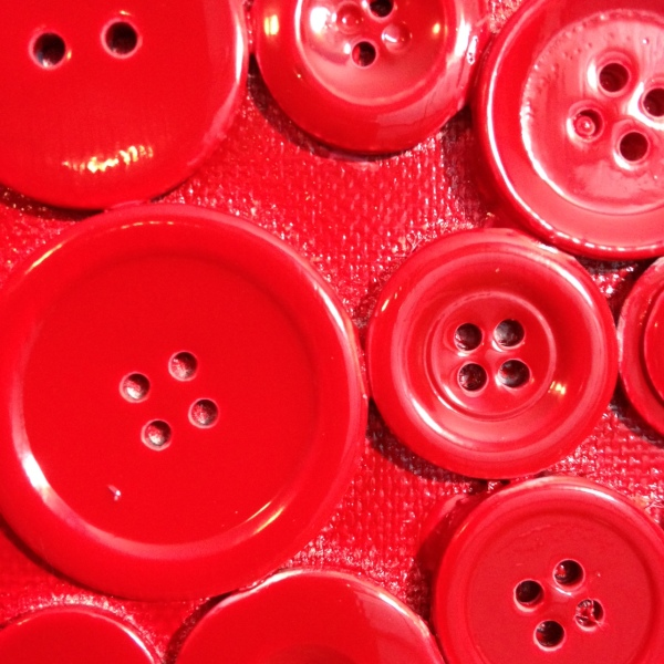 Close-Up 2 Red Buttons- Tribute to Arman Linda Cleary 2014 Mixed Media on Canvas