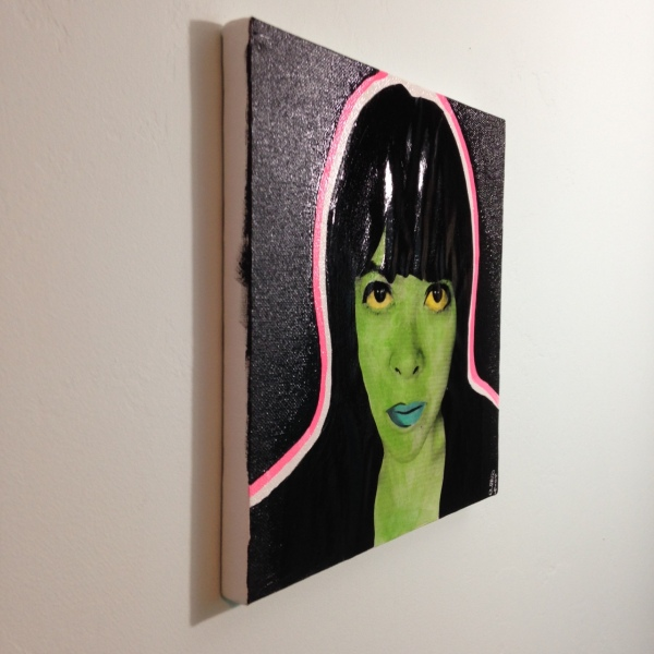Side-View Neon Self-Portrait- Martial Raysse Linda Cleary 2014 Mixed-Media on Canvas