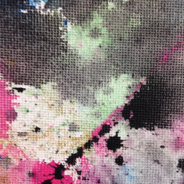 Close-Up 1 Painted Towels- Tribute to Shozo Shimamoto Linda Cleary 2014 Acrylic on Canvas