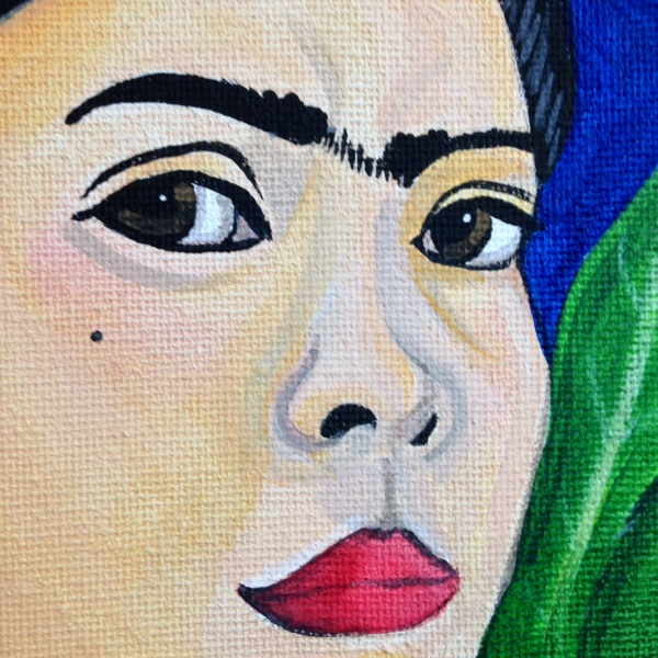 Close-Up 1 Self Portrait with Lexi- Tribute to Frida Kahlo Linda Cleary 2014 Acrylic/Watercolor on Canvas