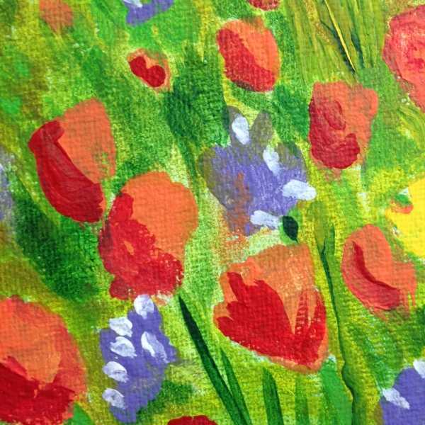 Close-Up 1 Field of Poppies- Tribute to Claude Monet Linda Cleary 2014 Acrylic on Canvas