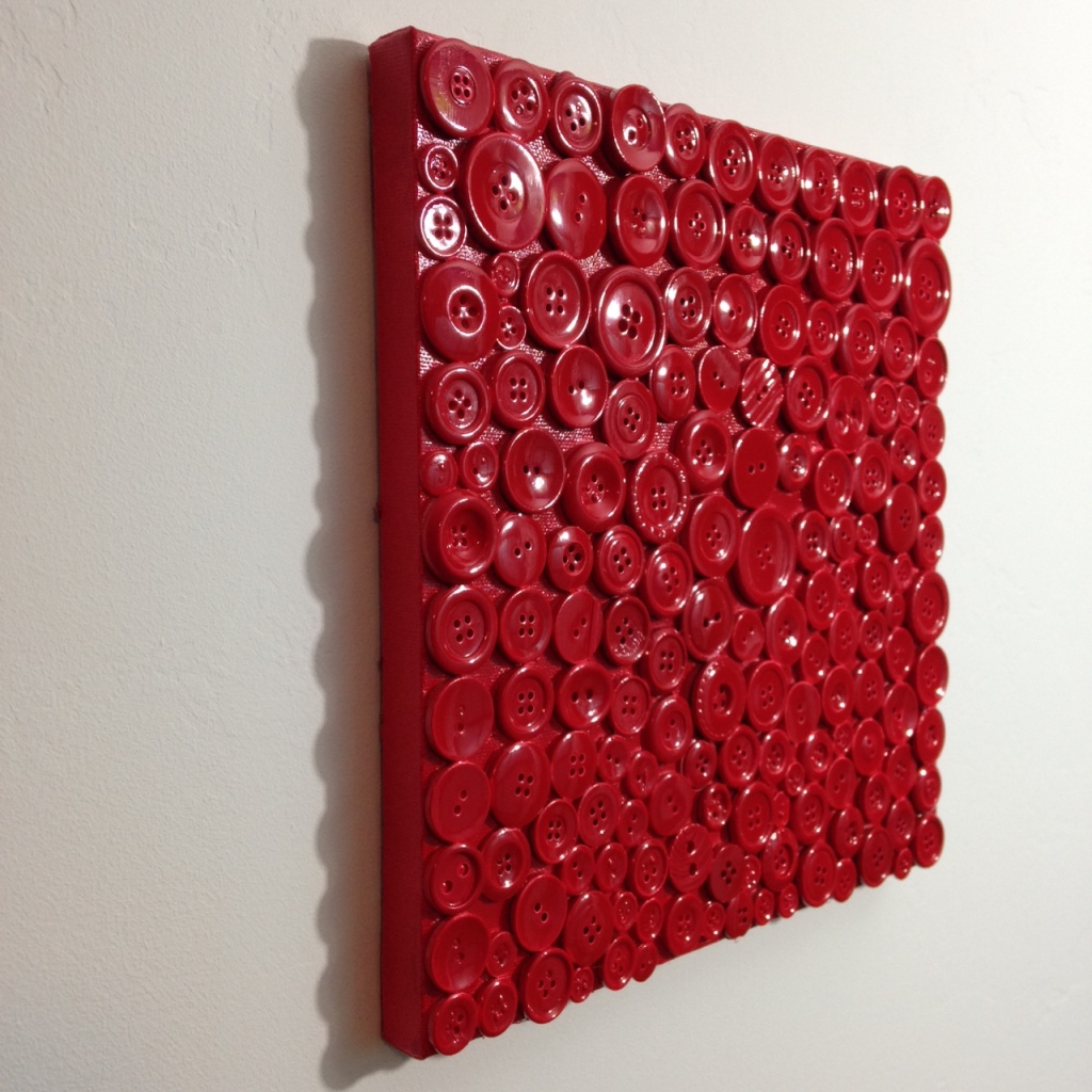 Side-VIew Red Buttons- Tribute to Arman Linda Cleary 2014 Mixed Media on Canvas