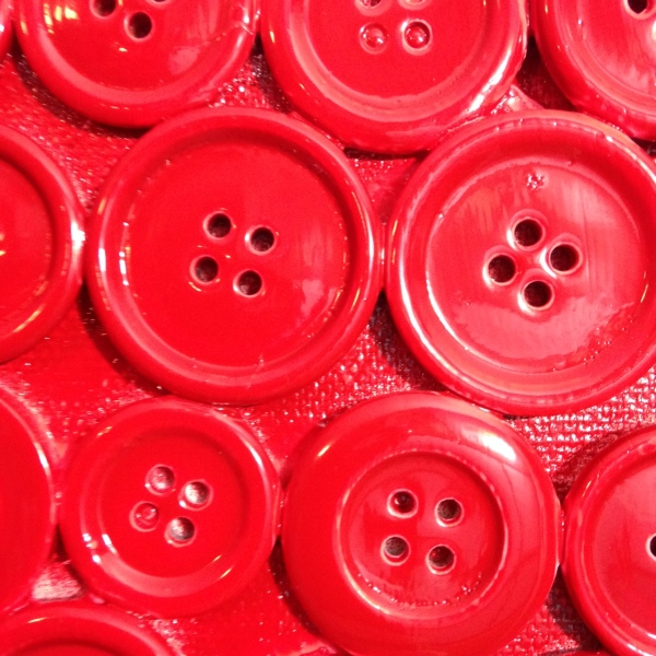 Close-Up 3 Red Buttons- Tribute to Arman Linda Cleary 2014 Mixed Media on Canvas