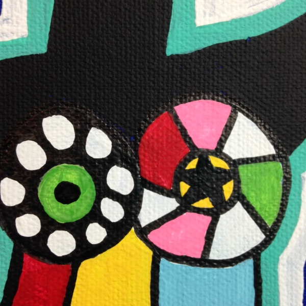 Close-Up 1 My Nana- Tribute to Niki De Saint Phalle Linda Cleary 2014 Acrylic on Canvas