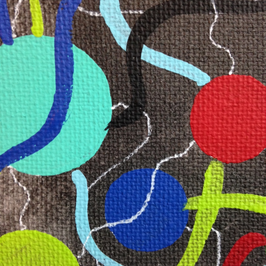 Close-Up 1 It's Electric- Tribute to Atsuko Tanaka Linda Cleary 2014 Acrylic on Canvas