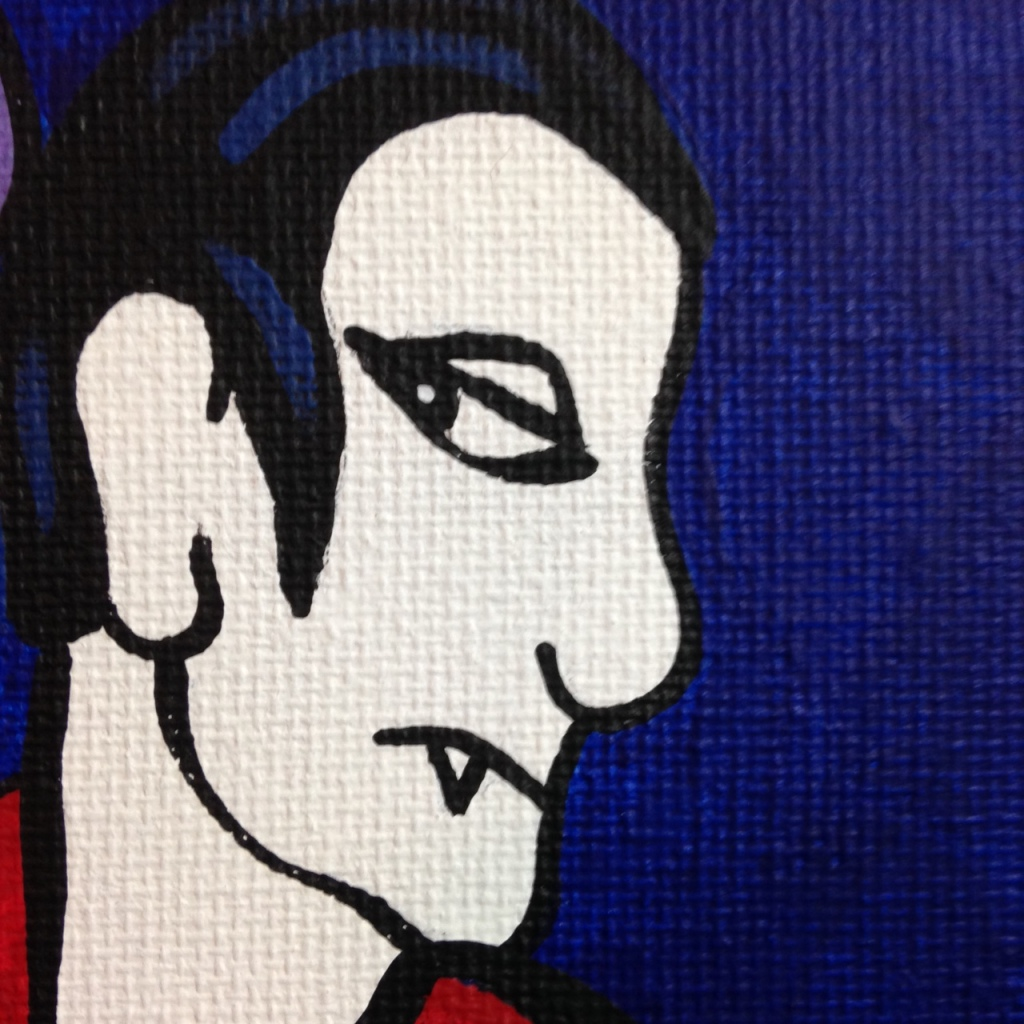 Close-Up 2 Monster Cabaret- Tribute to Jacques Pellegrin Linda Cleary 2014 Acrylic on Canvas