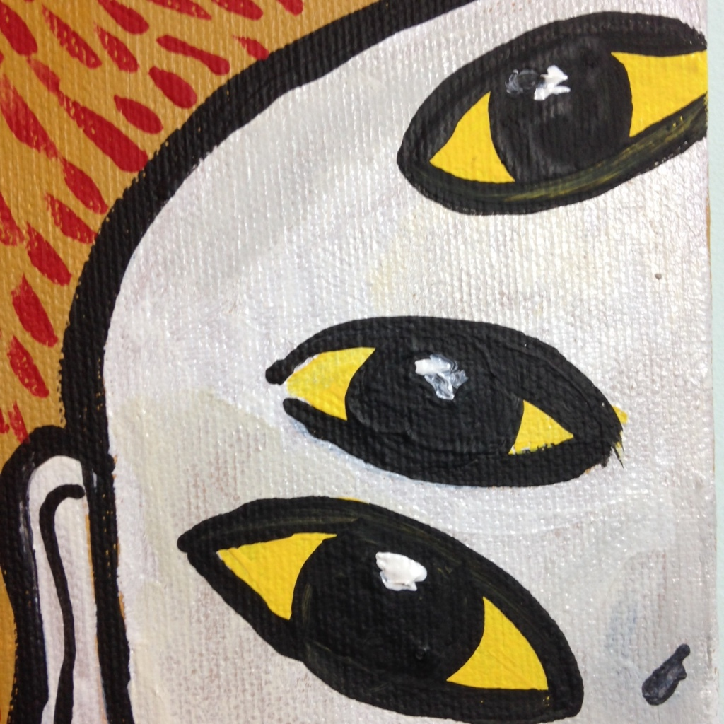 Close-Up 2 I Miei Occhi Piangono- Tribute to Enzo Cucchi Linda Cleary 2014 Acrylic on Canvas