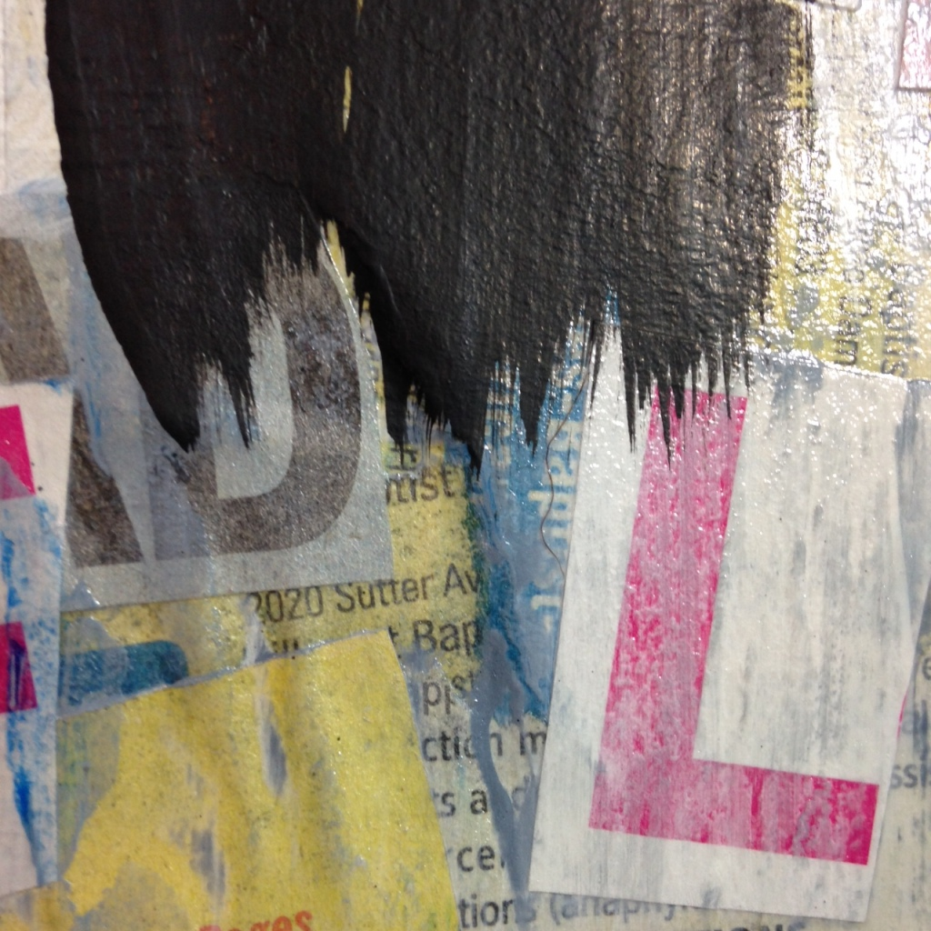 Close-Up 2 Subliminal- Tribute to Francois Dufrene Linda Cleary 2014 Mixed Media on Canvas
