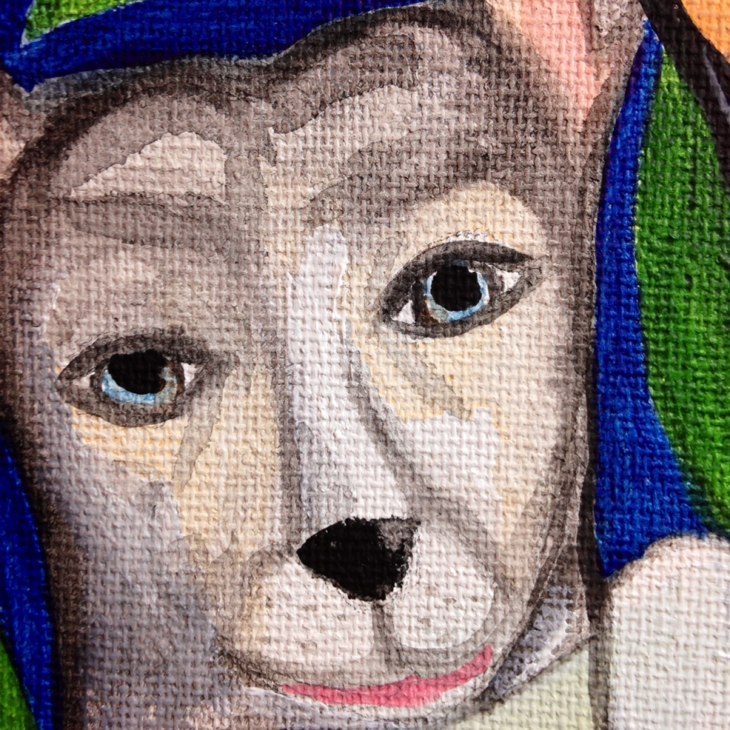 Close-Up 2 Self Portrait with Lexi- Tribute to Frida Kahlo Linda Cleary 2014 Acrylic/Watercolor on Canvas