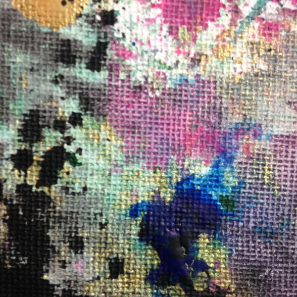 Close-Up 3 Painted Towels- Tribute to Shozo Shimamoto Linda Cleary 2014 Acrylic on Canvas