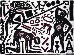 A.R. Penck- Woodcut