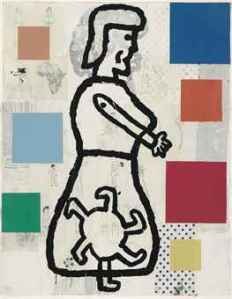 Large Abstract Composition with Standing Woman- Donald Baechler