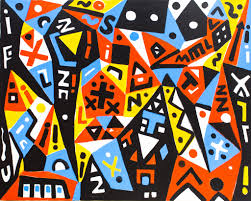 """Painting by A.R. Penck (Ralf Winkler): City of Memories, 2005 (Acrylic on canvas)"""
