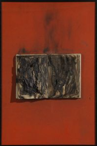 Bernard Aubertin. Livre Brule (on red), 1974. Framed burnt book