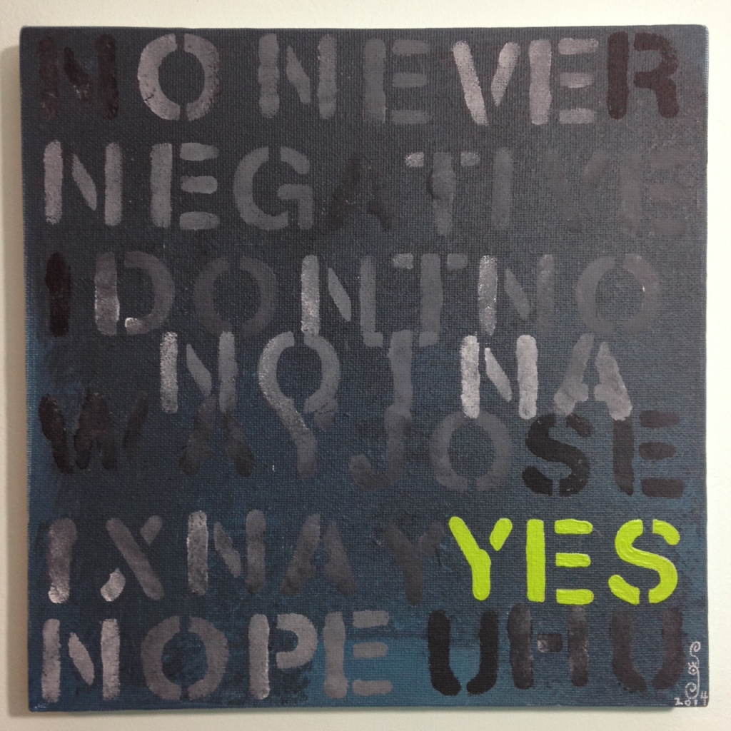 No, think YES- Tribute to Mel Bochner Linda Cleary 2014 Acrylic on Canvas
