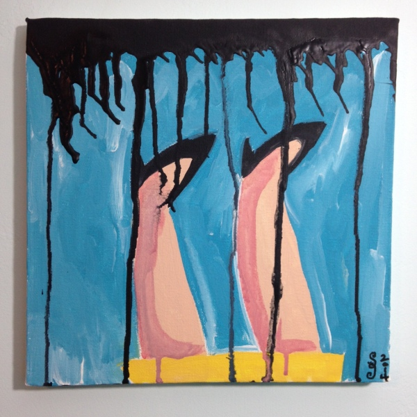 Verkehrt Herum- Tribute to Georg Baselitz Linda Cleary 2014 Acrylic on Canvas