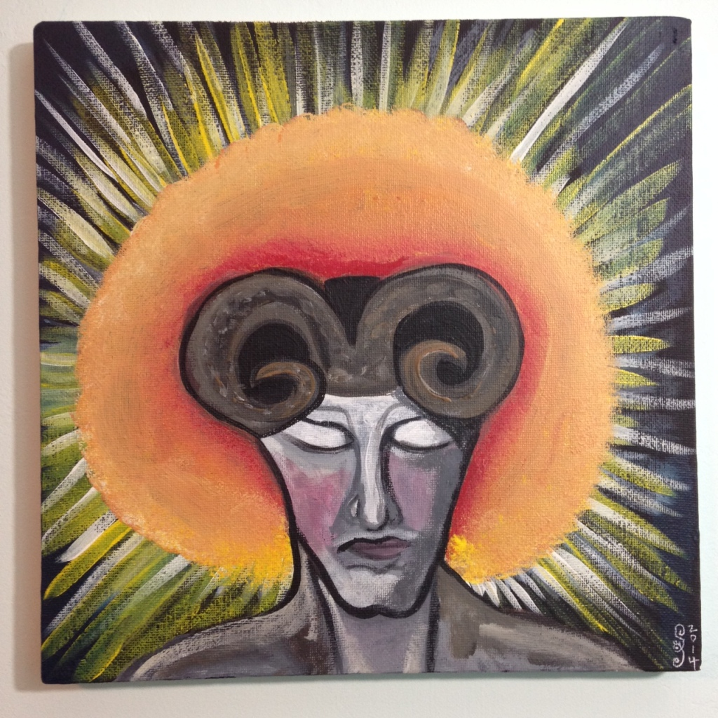 Demon in the Sun- Tribute to William Blake  Linda Cleary 2014 Acrylic on Canvas
